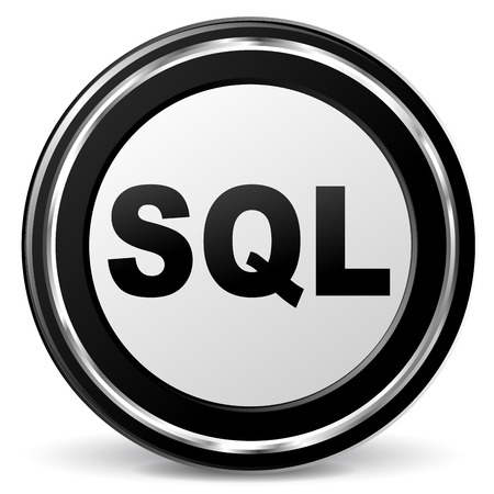 sql: Vector illustration of sql metal icon on white background