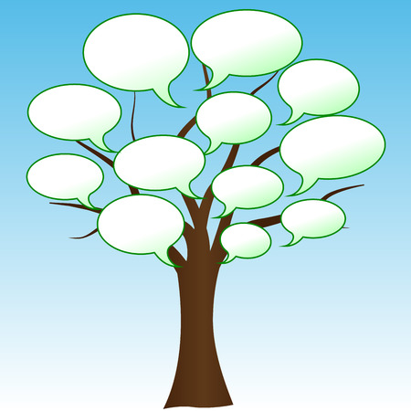 Vector illustration of abstract tree with white speech Vector