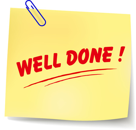 Vector illustration of well done paper message on white background Vector