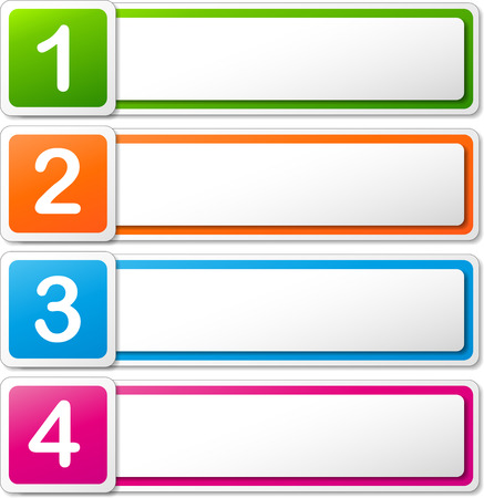 numbering: Vector illustration of four colorful banners on white background Illustration