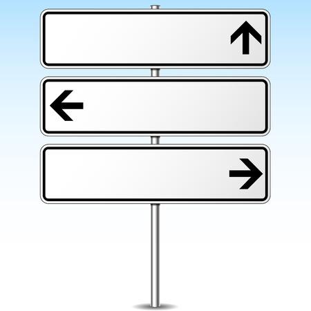 Vector illustration of three directions roadsign concept Vettoriali