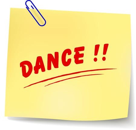 Vector illustration of dance paper message on white background Иллюстрация