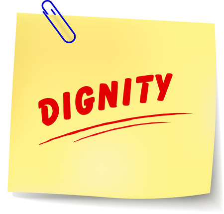 dignidad: Ilustraci�n vectorial de papel mensaje dignidad en el fondo blanco