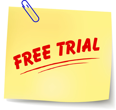 free trial: Vector illustration of free trial paper message on white background