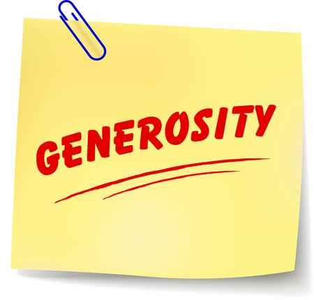 generosit�: Illustrazione vettoriale di carta messaggio generosit� su sfondo bianco Vettoriali