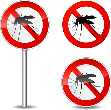 Vector illustration of mosquito sign on white background