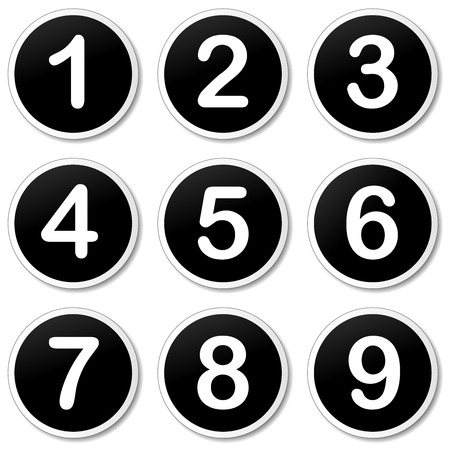numbering: Vector illustration of numbering icons on white background