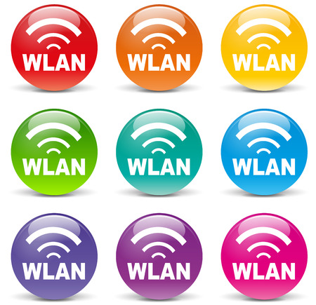 wlan: Vector illustration of wlan set colorful icons