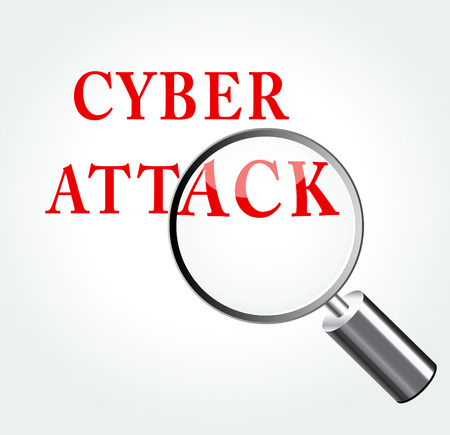 cyber attack: Vector illustration of cyber attack concept with magnifying