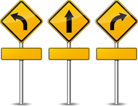 Vector illustration of yellow turn signpost set