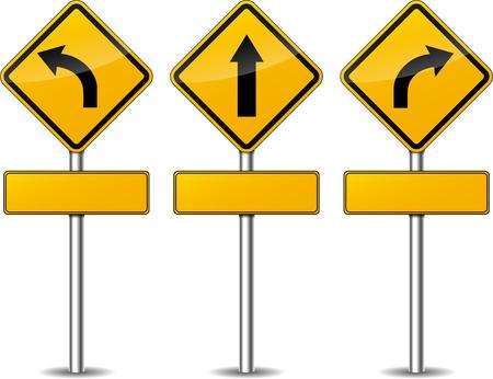 Vektor-Illustration von gelben wiederum Wegweiser Satz Standard-Bild - 30794871