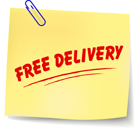 Vector illustration of free delivery paper message on white background Vector