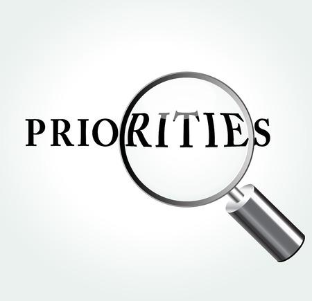 prioridades: Ilustraci�n del vector de prioridades concepto con lupa Vectores