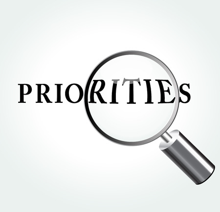 priorities: Vector illustration of priorities concept with magnifying