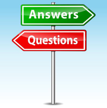 direction of: Vector illustration of questions and answers directional sign