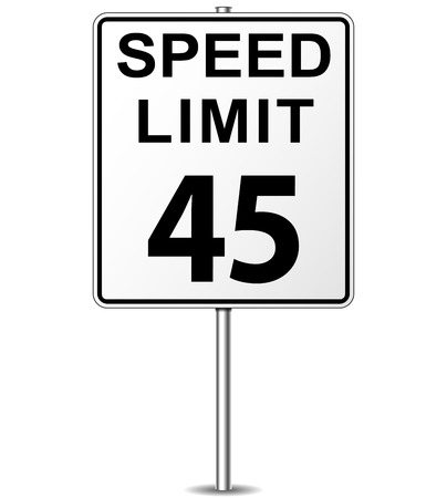 Vector illustration of forty five speed limit signpost Vector