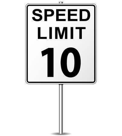 mph: Vector illustration of ten speed limit signpost