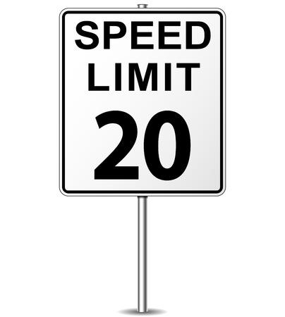 mph: Vector illustration of twenty speed limit signpost