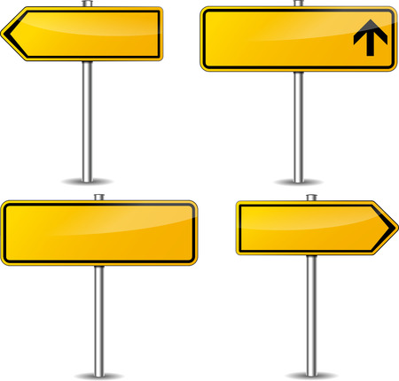 Vector illustration of yellow blank signpost set