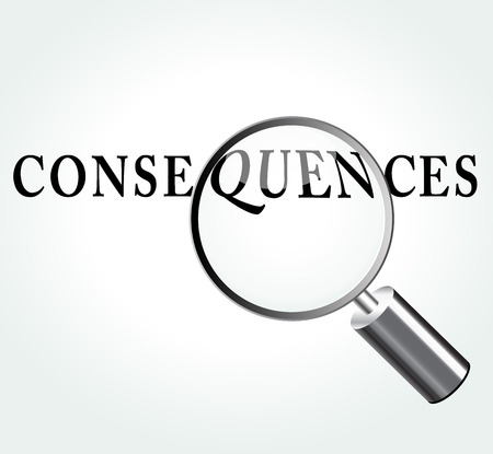 consequences: Vector illustration of consequences concept with magnifying Illustration