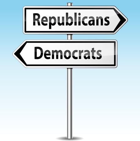 republicans: Vector illustration of democrats and republicans directional sign