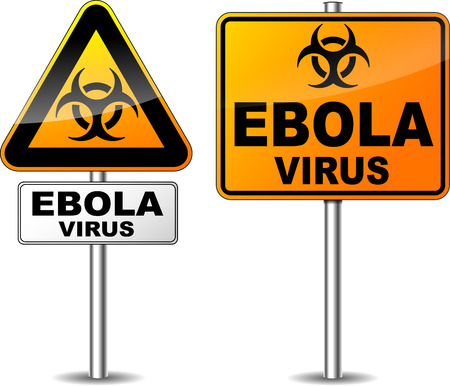 Vector illustration of two signpost of ebola virus area Vector