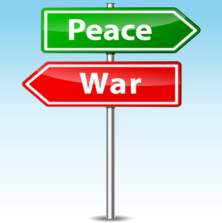 Vector illustration of peace and war directional sign Vector
