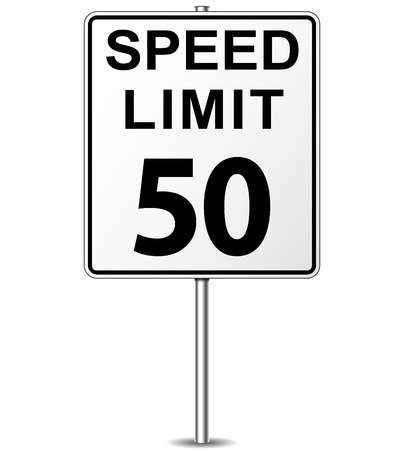 Vector illustration of fifty speed limit signpost Vector