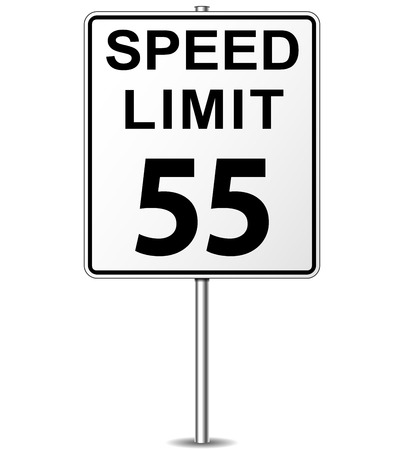 Vector illustration of fifty five speed limit signpost Vetores