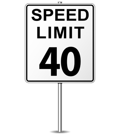 miles: Vector illustration of forty speed limit signpost