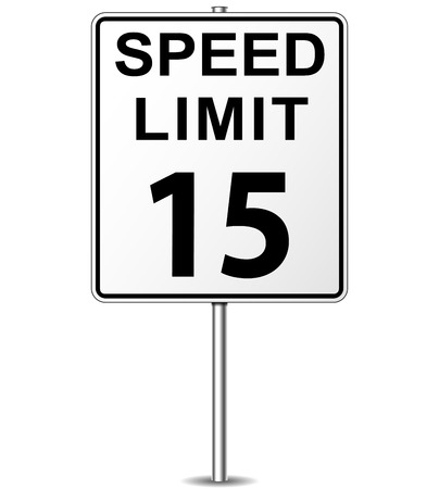 mph: Vector illustration of fifteen speed limit signpost