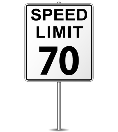 Vector illustration of seventy speed limit signpost