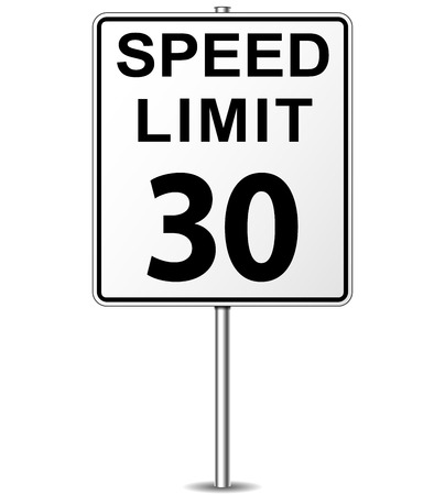 Vector illustration of thirty speed limit signpost Vector
