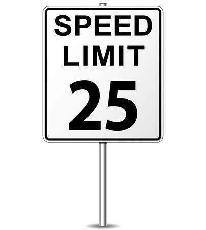 Vector illustration of twenty five speed limit signpost