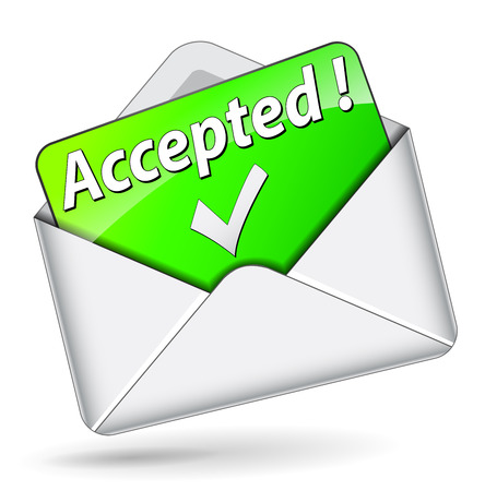 accepted: Vector illustration of accepted envelope message icon