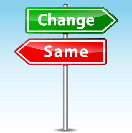 quo: Vector illustration of change and same direction sign
