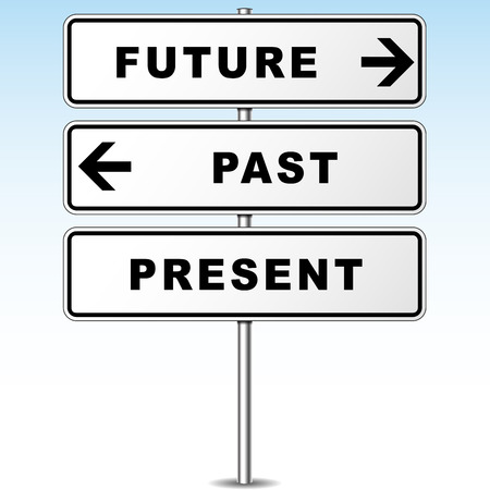 Vector illustration of future and past direction signpost Vector
