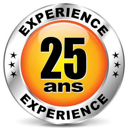 French translation for twenty five years experience orange icon Ilustrace