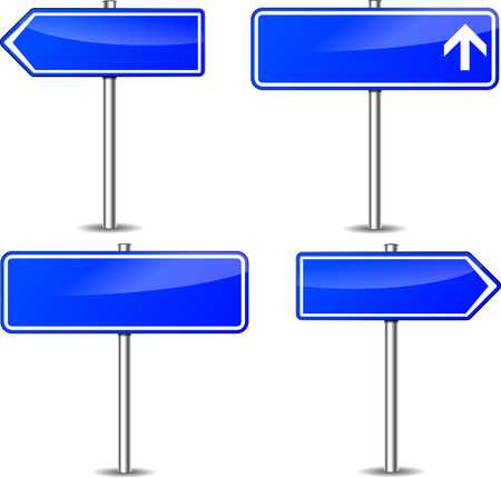 Vector illustration of blue signpost set on white background