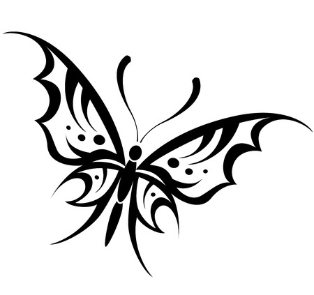 Vector illustration of butterfly tribal drawing on white background Vector