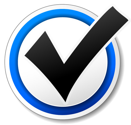 yes check mark: Vector illustration of white and blue check mark design icon