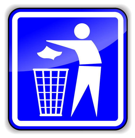 dispose: Vector illustration of throw away trash sign icon on white background