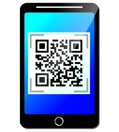 Vector illustration of mobile phone with qr code Vector
