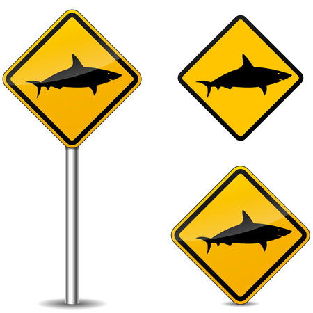 Vector illustration of warning shark signs on white background