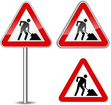 road works ahead: Vector illustration of work sign on white background
