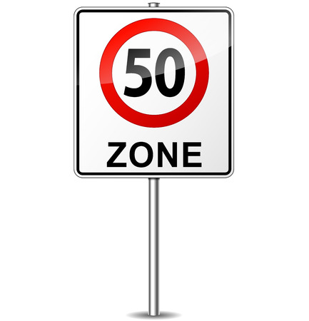 fifty: Vector illustration of speed limit zone sign concept