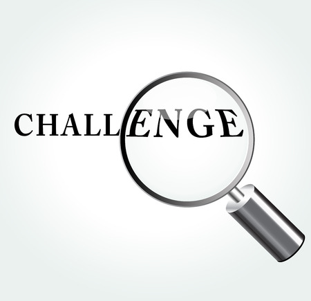Vector illustration of challenge abstract concept with magnifying Vector