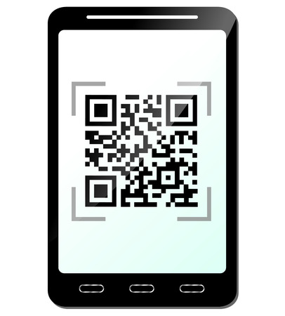 Vector illustration of phone with qr code concept Vector