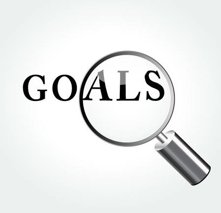 smart goals: Vector illustration of goals abstract concept with magnifying