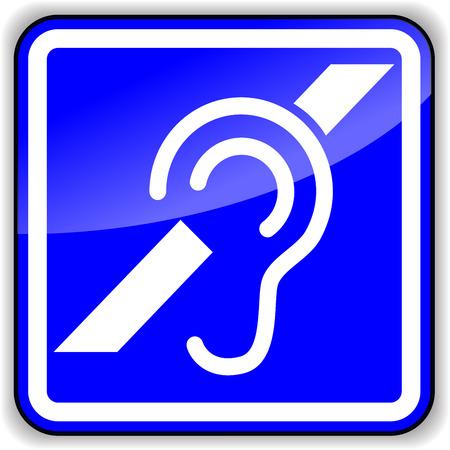 earing: Vector illustration of hard of earing blue sign Illustration